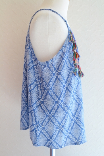 FlyingTomato Native design tank top,Tassel camisole
