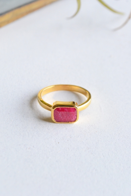 Rue Belle natural stone ring & earring