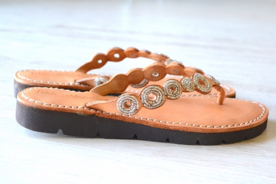 Laidback london ethnic leather thong sandals