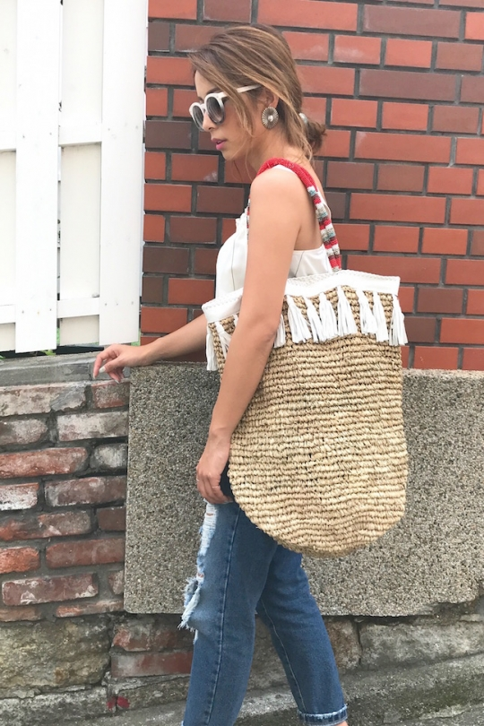 cleobella leather straw bag