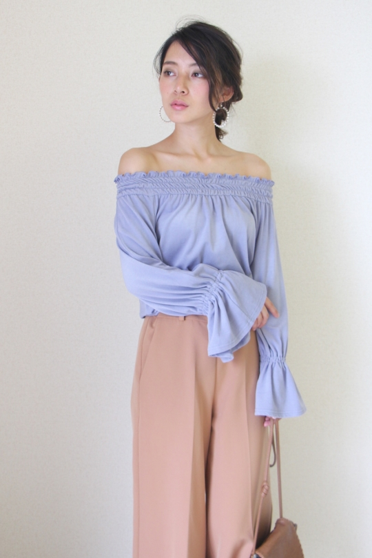 LaLaLei LUX-WARM Premium off-shoulder lavender blue