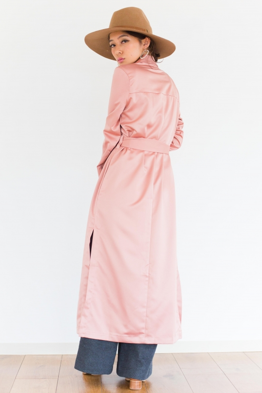 Re:named lustrous pink long coat