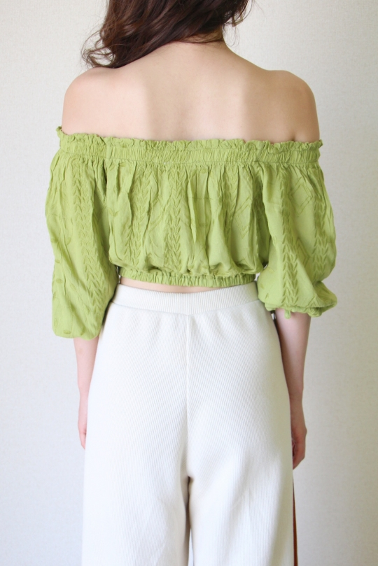 illa illa  leaf green off-shoulder