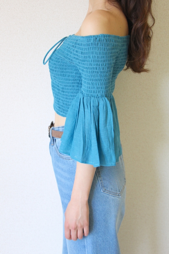FlyingTomato turquoise off-shoulder TOPS