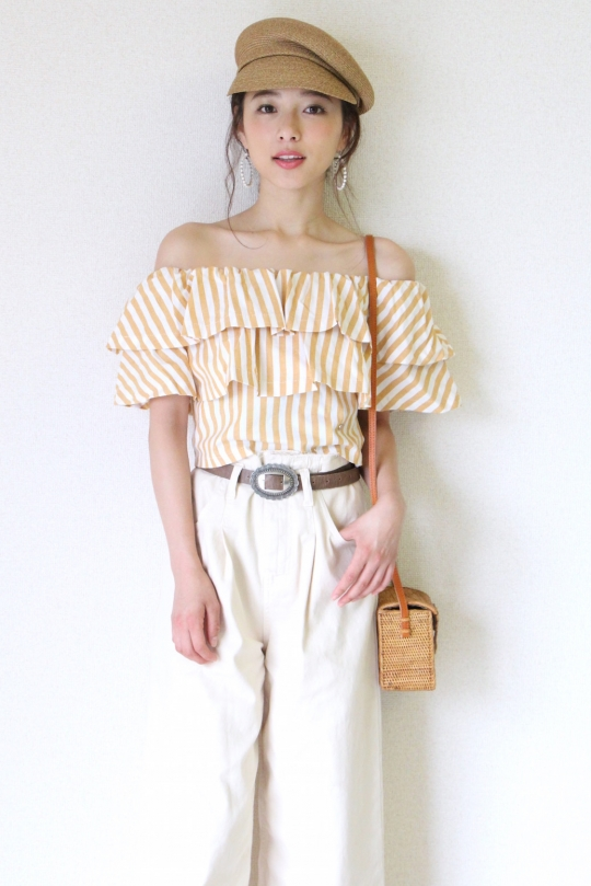 Please orange stripe off- shoulder tops
