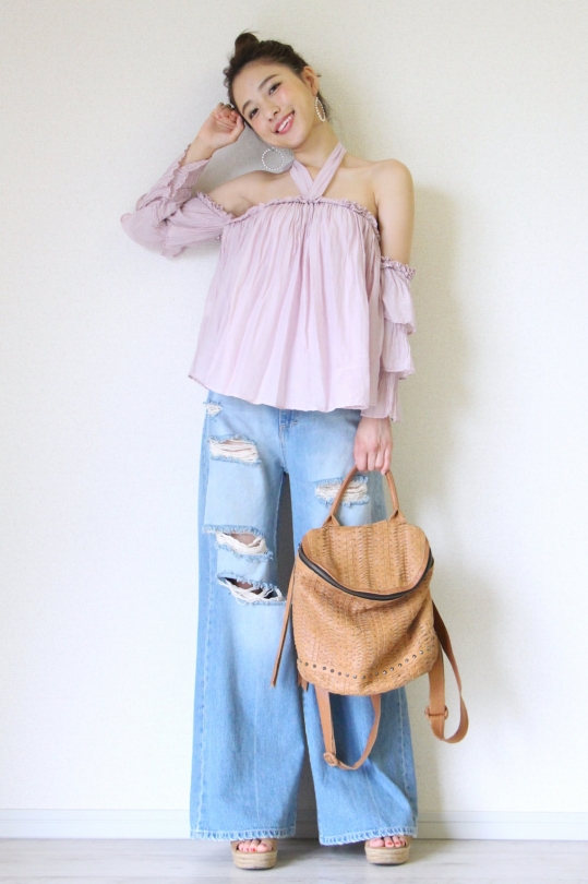Souvenir purple color off- shoulder chiffon tops