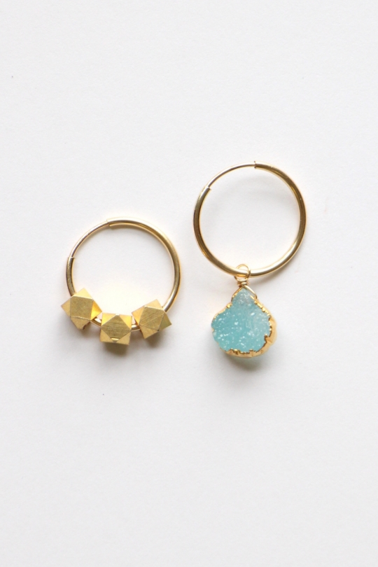RueBelle druzy ×vintage parts earrings