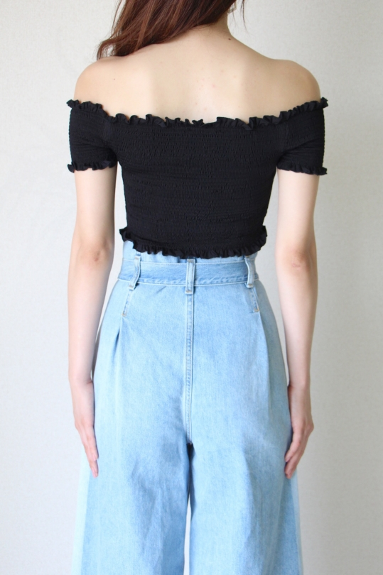 KONTATTO black color short off-shoulder tops