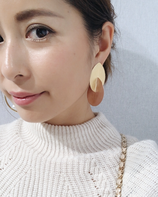 ikkelele gold×pink plate earrings