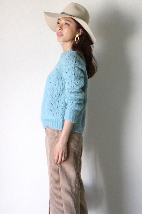 roberto collina punching blue color knit tops