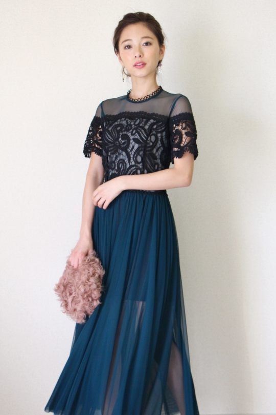 IMPERIAL green tulle lace DRESS