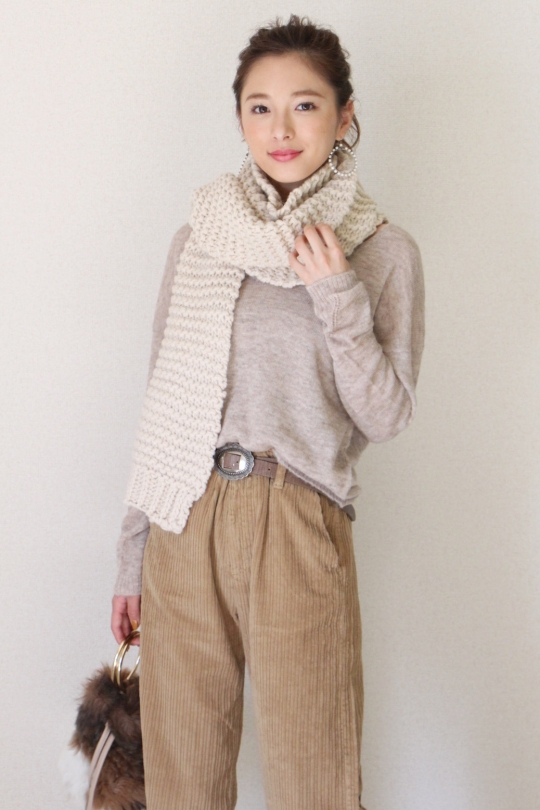 Humility white garter knit scarf