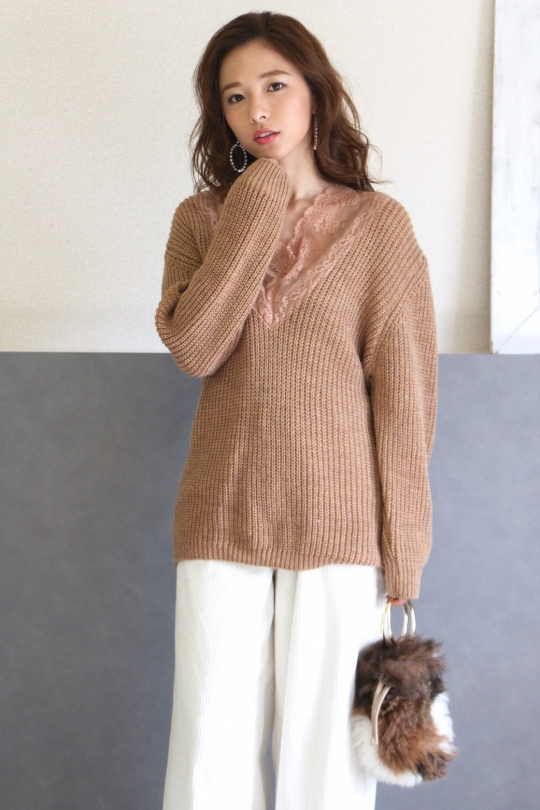 IMPERIAL camel × lace knit