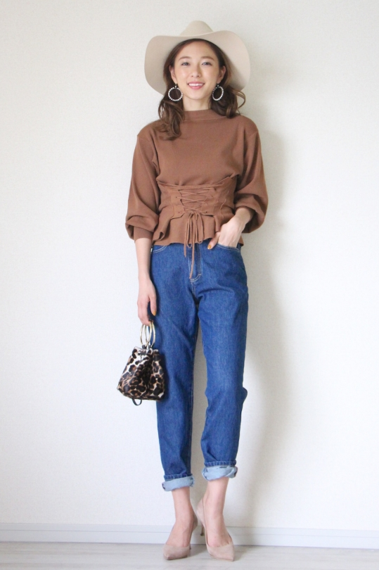 NORTHLAND camel lace up knit