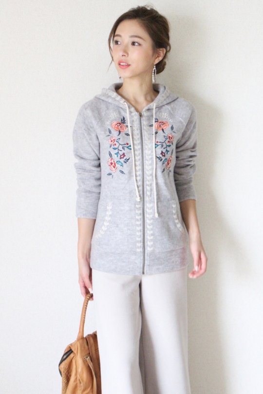 THML embroidery gray parka