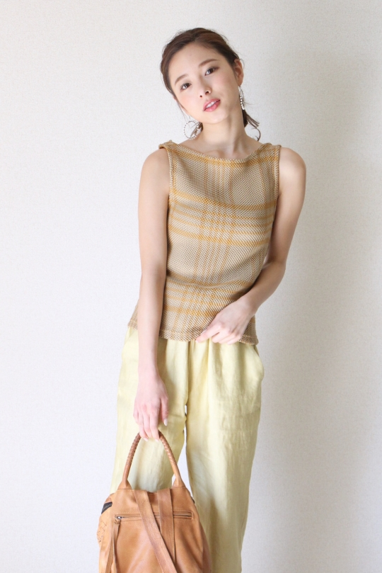 RITA ROW check summer knit TOPS