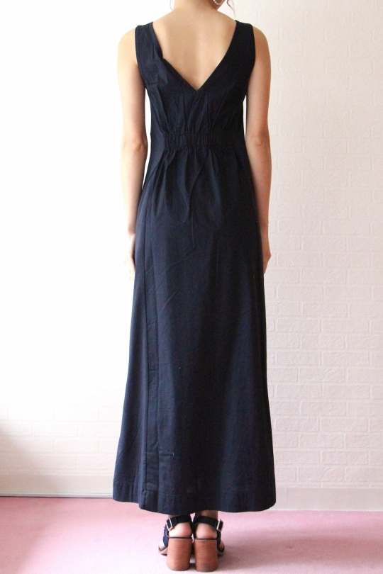 ALPHA navy sleeveless cotton dress