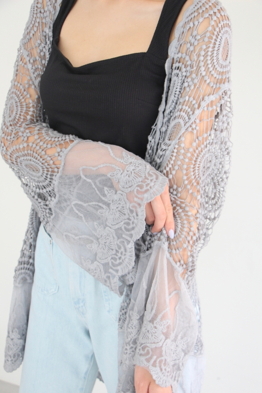 POL clothing crochet lace cardigan