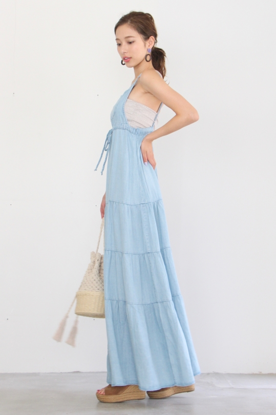 Love Stitch denim maxi OP