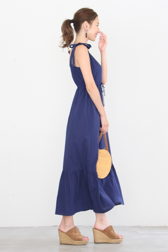 cleobella ribbon shoulder blue dress
