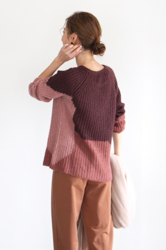 indi & cold color block knit