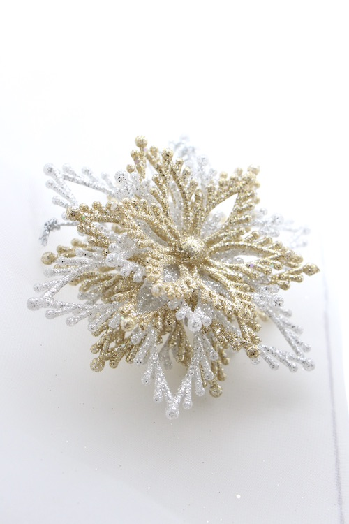 KURTS ADLER snow flake glitter ornaments