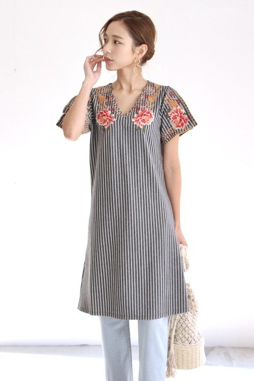 THML flower embroidery  stripe OP