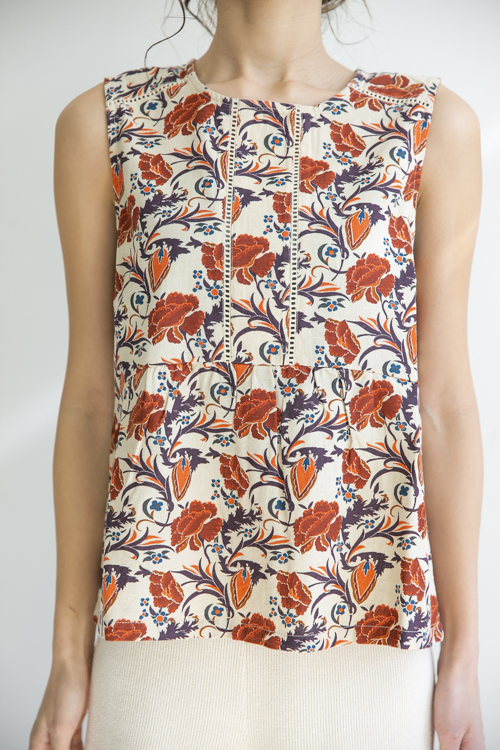 indi&cold retro flower desing sleeveless TOPS