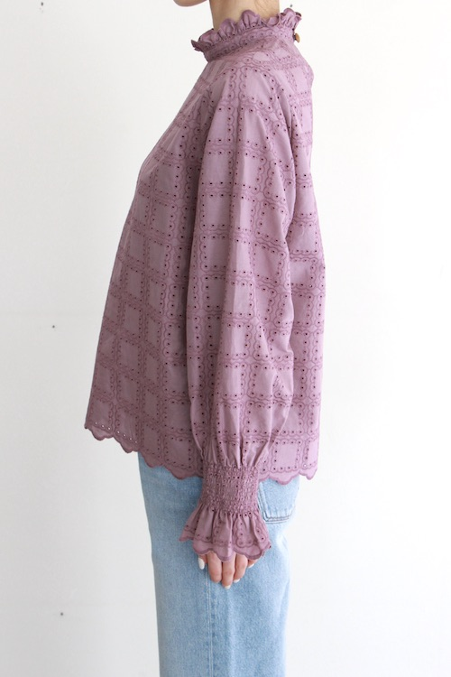 LaLaLei high-neck  Purpule cotton blouse