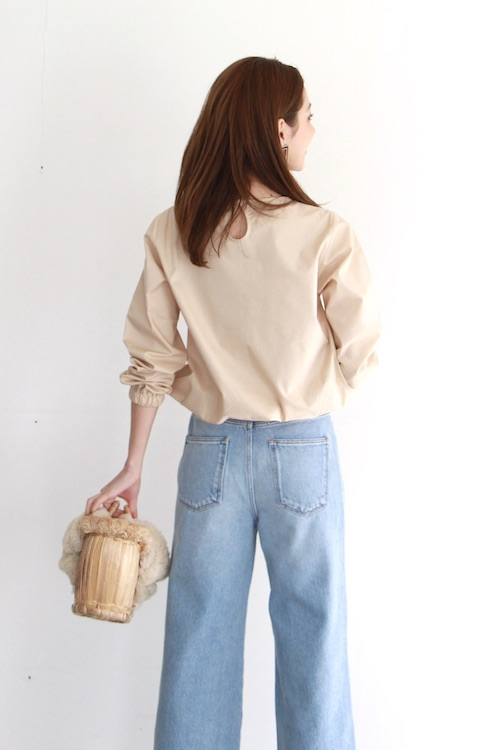 mila.vert  long sleeve beige cotton blouse
