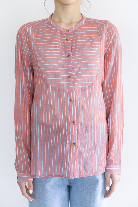 Leon&Harper  No collar RED stripe shirt TOPS
