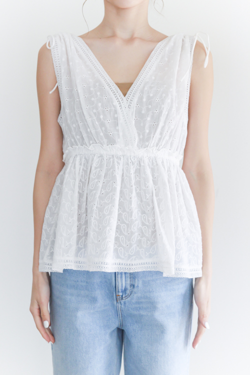 Leon&Harper White cotton peplum TOPS