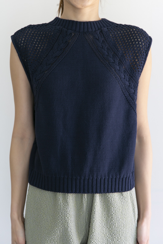 RITA ROW back slit navy cotton knit tops