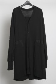 予約商品 JULIUS(ユリウス) COTTON NEP CREAP  Patch Cardigan (BLACK)