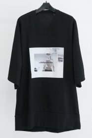 予約商品 JULIUS(ユリウス)  COTTON WAFFLE PRINT BIG T-SHIRTS (BLACK)