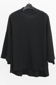 JULIUS(ユリウス)  COTTON WAFFLE TUCKED BOX T-SHIRTS (BLACK)