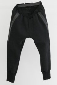 予約商品 NILøS(ニルズ)  COTTON DOUBLE FACE  SIDE SLASH TRACK PANTS (BLACK)