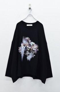BALMUNG プリントビッグTシャツ (長袖) 雪花輪 - 黒
