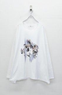 BALMUNG プリントビッグTシャツ (長袖) 雪花輪 - 白