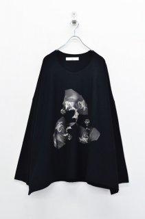 BALMUNG プリントビッグTシャツ (長袖) 銀花 - 黒