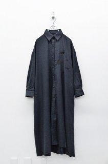 bedsidedrama 北の動物刺繍マキシシャツ - BLACK