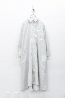 bedsidedrama 北の動物刺繍マキシシャツ - GREY