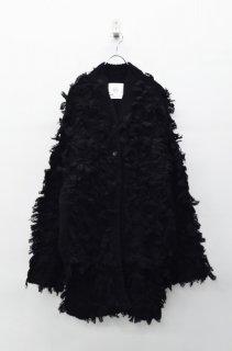 bedsidedrama フリンジニットコート - BLACK