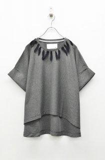 bedsidedrama フェザーレースワイドTシャツ- CHARCOAL