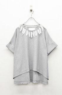 bedsidedrama フェザーレースワイドTシャツ- GREY