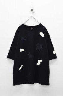 yoko sakamoto PATCH WORK TEE - BLACK