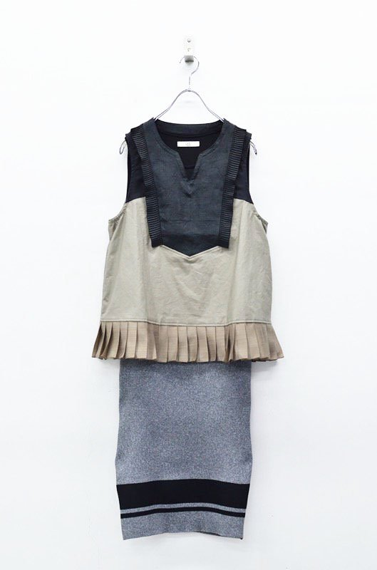 NON TOKYO 3WAYノースリーブプリーツドレス - BLACK