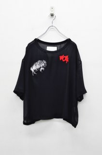 bedsidedrama メタリックシフォンTシャツ -  ワッペン - BLACK
