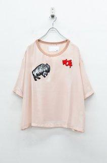 bedsidedrama メタリックシフォンTシャツ -  ワッペン - PINK