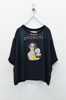 bedsidedrama メタリックシフォンTシャツ - ミスセレブリティ - BLACK